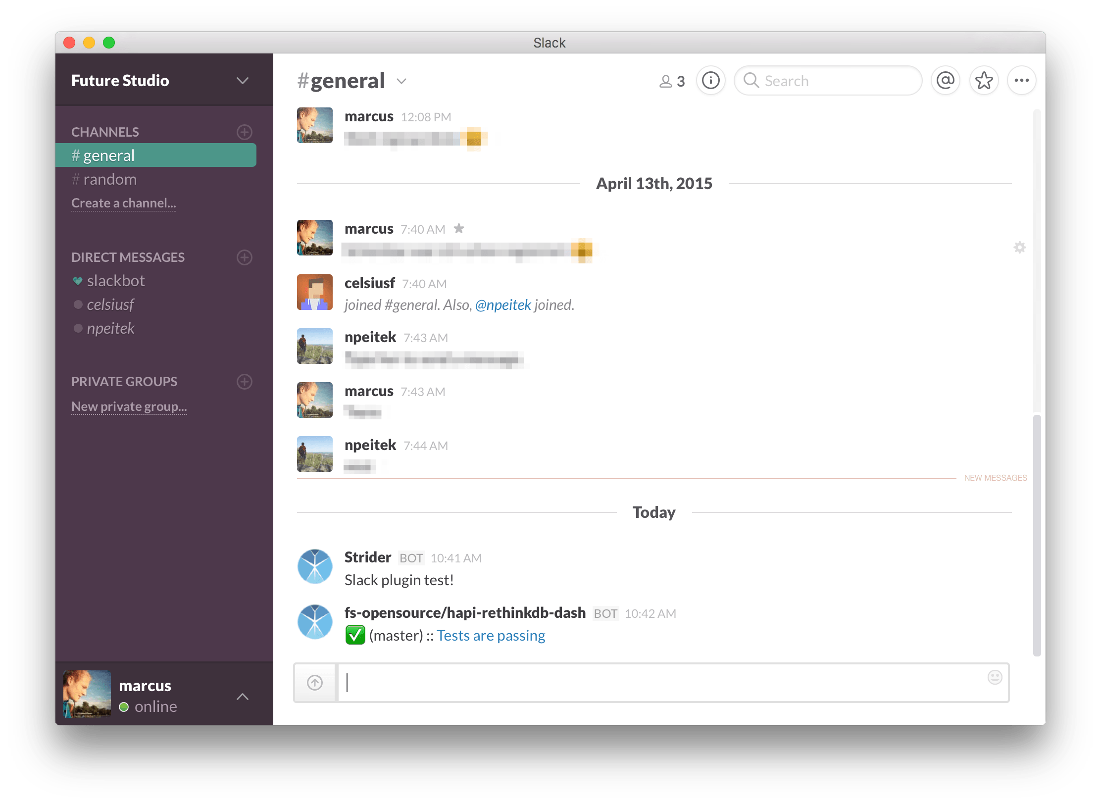 Slack Notifications from Strider