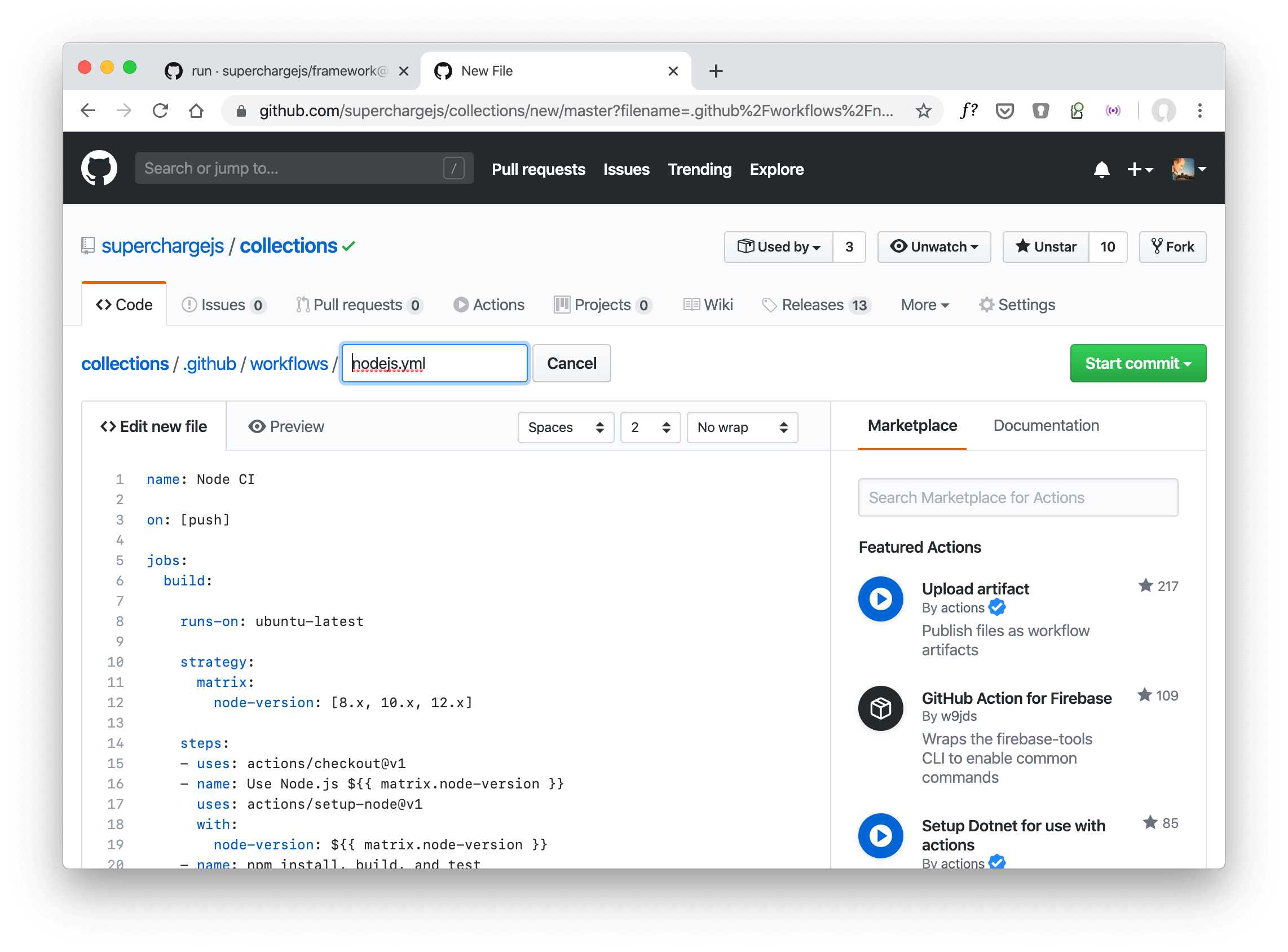 GitHub Actions: create a new Node.js testing workflow