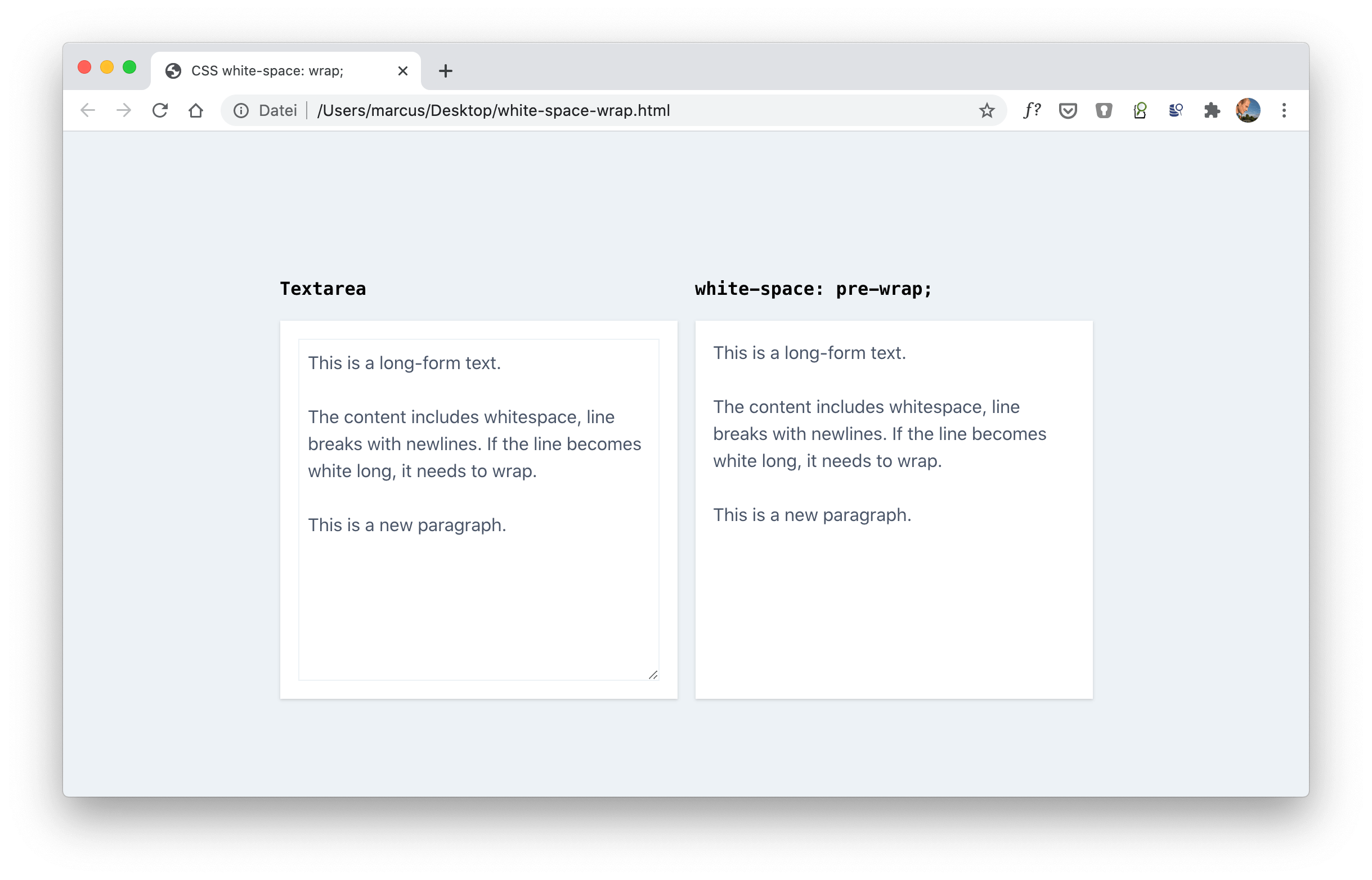Preserve Whitespace and Newlines in an HTML string and also wrap text with `white-space: pre-wrap`
