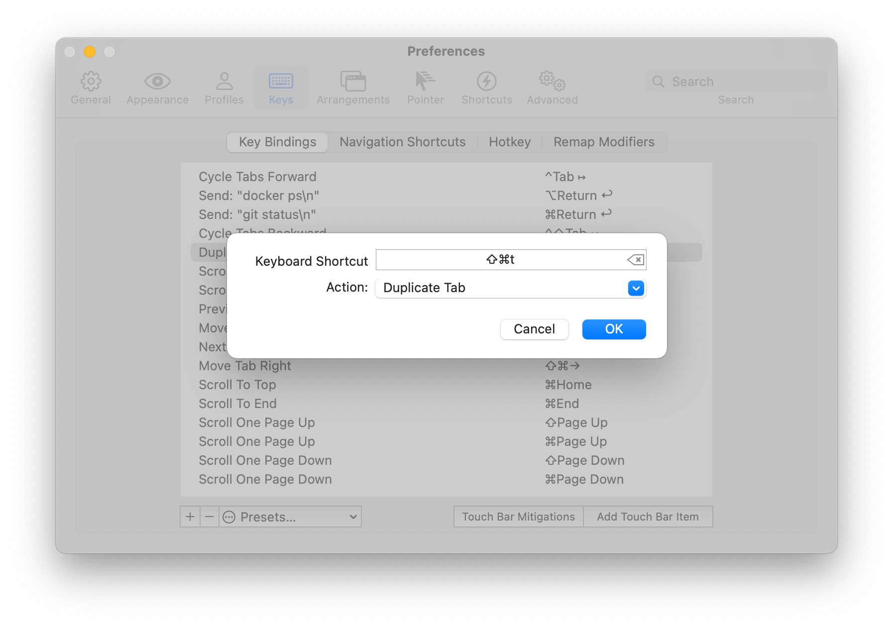 Add keyboard shortcut in iTerm to duplicate a tab